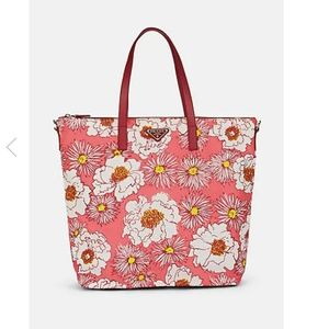 PRADA Nylon Saffiano Leather Trim Floral Tote Bag